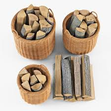 wicker basket 07 toasted oat color with firewood 3d model in