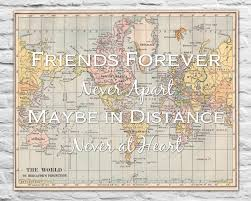 World Map Prints by Gift For Best Friends Long Distance Love Antique World Map Print