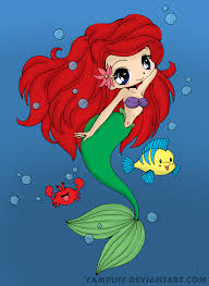 ariel the little mermaid chibi by kenzerooni on deviantart