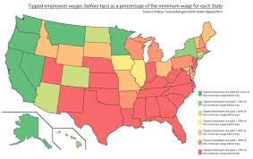 A United States Map by Tipped Employees Wages Before Tips As A Percentage Of The