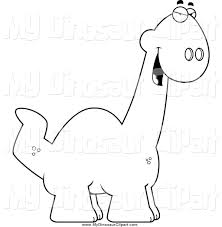 clipart of a black and white sly apatosaurus dino by cory thoman