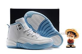 New Light Up Jordans Kids Air Jordan 12 White Light Blue Silvery Shoes Price 52 00