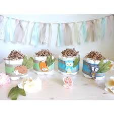 woodland mini diaper cake set of 4 baby shower centerpiece