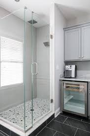 blue staggered shower floor tiles design ideas