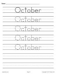 12 free months of the year handwriting worksheets free