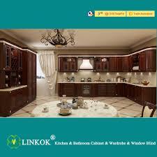 Linkok Furniture Dark Brown Solid Wood Kitchen Cabinets Modular - Kitchen cabinets made in china
