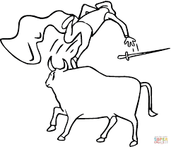 bullfighter runs away coloring page free printable coloring pages
