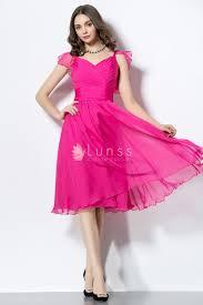 fuchsia pleated chiffon knee length cute homecoming party dress