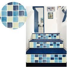 dekorfolie k che mosaik fliesen blauen wand aufkleber ziegel bad küche