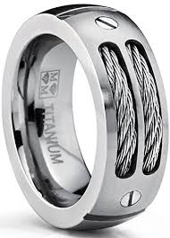 mens stainless steel wedding bands 8mm men s titanium ring wedding band with stainless steel cables