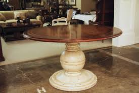 Painted Dining Table by Round Country Wood Table And Painted Pedestal Base For Kitchen