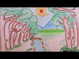 how to draw beautiful drawing how to draw beautiful forest landscape and mountain view scenery