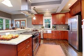 Kashmir Cream Granite With Natural Cherry Kitchen Cabinets - Kitchen with cherry cabinets