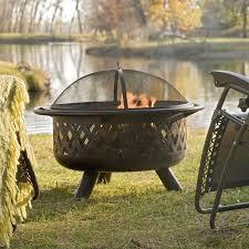 Ember Feature Flags Red Ember Rubbed Bronze Crossweave 36 Inch Wood Burning Fire Pit