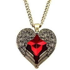 long red pendant necklace images Angel brand vintage jewelry red gemstone heart love jpg