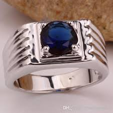 real stone rings images 2018 single blue sapphire stone men real 925 silver ring size10 11 jpg