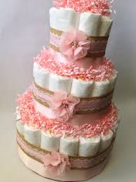 Shabby Chic Baby Shower Cakes by Burlap And Lace Pink Diaper Cake For Baby By Mrsheckeldiapercakes