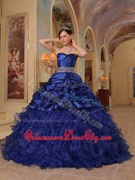 quince dresses royal blue beaded organza and taffeta quinceanera dress with