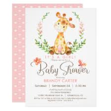 baby shower giraffe giraffe baby shower invitations announcements zazzle
