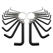 alum key set 20pc hex tool alum key set accessory wrench set key ring uk new