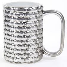novelty coffee mugs bike chain pattern silver stoneware mug novelty coffee mugs