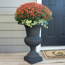 planters black fiberglass urn planters large tall outdoor