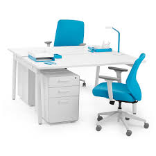 White Office Furniture Series A Double Desk White 57
