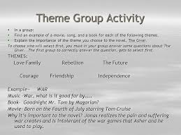 the giver a look at themes ppt