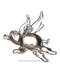 glass figurine clear glass flying pig ornament
