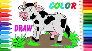 how to draw cows coloring page for kids drawing and coloring