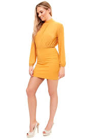 jesimeah mustard long sleeve mini bodycon dress miss g couture