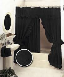 Double Shower Curtains With Valance Black Double Swag Fabric Shower Curtain Set Valance Ruffled