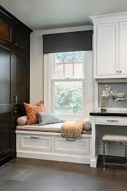 kitchen desk design photos hgtv white kitchen with built in window seat and storage