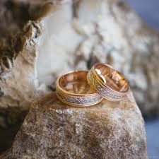 rings weddings images Wedding rings red gold 585 with rhodium and cubic zirconia shop jpg