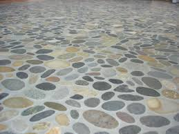 river rock bathroom floor