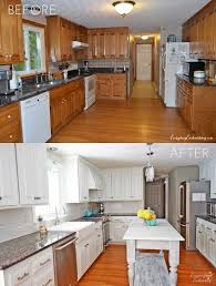 Old Kitchen Cabinet Makeover by Cool Painted Brown Kitchen Cabinets Before And After