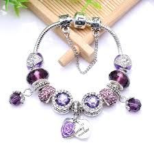 antique charm bracelet silver images New european antique silver purple rhinestone charm handmade jpg