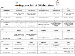 cacfp menu template daycare menu template