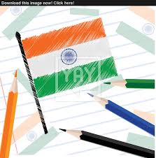 indian national flag sketch on note book paper for republic day