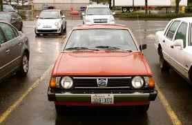 old subaru hatchback old parked cars vinyl half roofed 1980 subaru 1600 dl 5