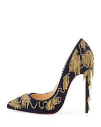 christian louboutin dolly party chain detail red sole pump nuit