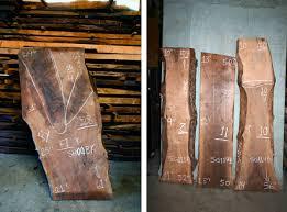 walnut slab table to the studs