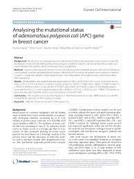 analysing the mutational status of adenomatous polyposis coli apc