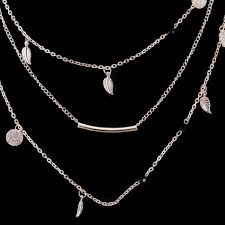 cheap silver chain necklace images Beautiful multi layer gold silver chain beads leaves pendant jpeg
