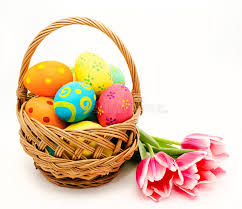 easter egg basket colorful easter eggs in basket and flowers isolated on a white