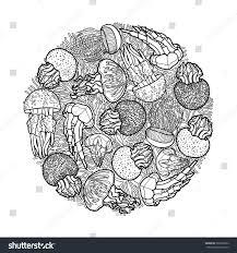 swirl jellyfish drawn line art style stock vector 360302582