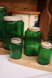 229 best kitchen canisters vintage images on pinterest kitchen green depression glass cabinet set love these so beautiful vintage jars
