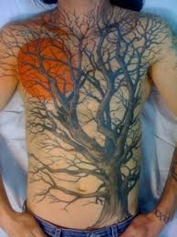 picture of moon and tree on the chest and stomach