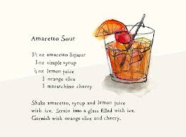 mojito recipe card amaretto sour lauren monaco illustration minty u0027s table