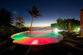 swimming pool a lagoon night view tahiti times